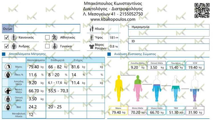 Αποτελέσματα Λιπομέτρησης - Μπακόπουλος Διαιτολόγος
