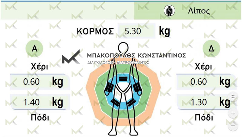 Τμηματική ανάλυση σύστασης σώματος - Λιπομέτρηση - Μπακόπουλος Διαιτολόγος